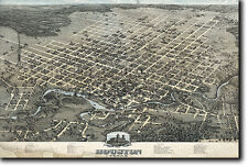MAP OF HOUSTON TEXAS FROM 1873 - HISTORIC OLD VINTAGE PHOTO PRINT POSTER USA