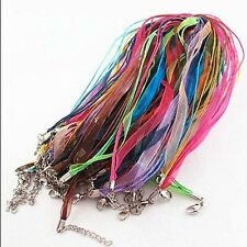 Wholesale 10pcs /lot Silk bulk Organza Voile Ribbon Necklace Silk Cord Clasp