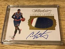 2015-16 Panini Flawless Carmelo Anthony auto patch 25 Gold Knicks 3 Color jersey