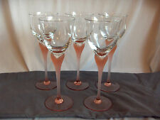 5 Vintage Mikasa Crystal Water Goblets Sea Mist Coral Pink Frosted Stem  NICE