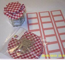 MATERIAL JAM  TOPS RED  gingham PACK includes sticky jar labels & bands x 20