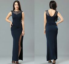Onorevoli donne Ball Prom Festa Celeb Nero Lato Pizzo runched LONG Maxi Dress 8 10