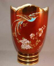 Vintage Rouge Carltonware Luster Enameled Art Deco Bird & Floral Decorated Vase!