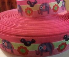 Grosgrain ribbon 22mm wide 4 meter piece elephant and bird  print