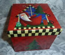 Board Street Studios Design Bright Color Square Christmas Gift Box By Lindy Bowm