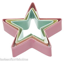 Set of 3 Star Shape Biscuit, Pastry & Cookie Cutters Large, Medium, Small
