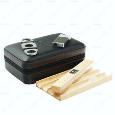 COHIBA Real Leather Zipper Travel Cigar Case Humidor With Lighter Cutter Set