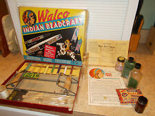WALCO INDIAN BEAD CRAFT BEADCRAFT KIT LOOM Extra BEADS VINTAGE 1935 Original Box