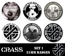 CRASS 6 X 31 mm Button Badges Set 1