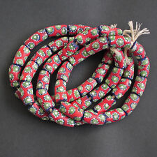 African Beads Recycled Glass Ghana Krobo Tubes 22 mm Red for Jewellery and Craft