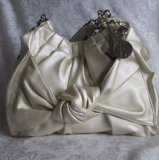 New ELLE Champagne Gold Knot Satchel Shoulder HANDBAG Chain Straps Faux Leather