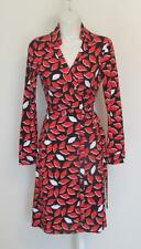 Diane von Furstenberg New Jeanne Two French Kiss red orange lips 10 wrap dress