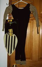 HALLOWEEN COSTUME BUMBLE BEE HEADS AND TAILS SIZE 4-6X JUMPSUIT WINGS HEADBAND