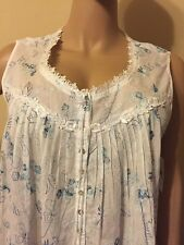 Eileen west nightgown  100% Cotton Ivory / Light Blue All Over embroidery  2X