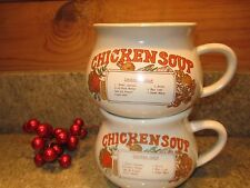 VINTAGE Set of 2 PORCELAIN CHICKEN SOUP RECIPE CROCK MUG