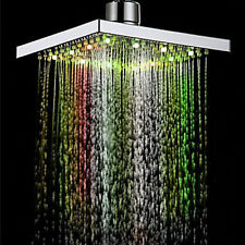 7 Colors LED Auto Changing Shower Square Head Light Home Water Bathroom Rain SEU