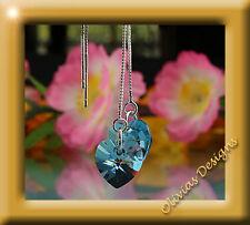 & Orecchini CATENA ARGENTO 925 con originali swarovski cristalli cuore blu