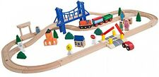 Kids Wooden Train Track Set 52-Piece Toy Melissa and Doug Railway Compatible