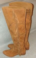 Frye Ray Fringe OTK Suede Pull on Womans Fashion Boot Size 9 B Tan   MSRP $578