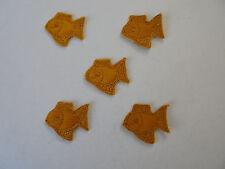 """5 Flicken Applikationen Patches zum aufnähen """" gelber Fisch  """"   3 x 2,5 cm  neu"""