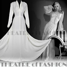 VINTAGE 30s DRESS WEDDING SILK 8 10 12 14 GATSBY GODDESS 40s VAMP 20s SIREN DECO