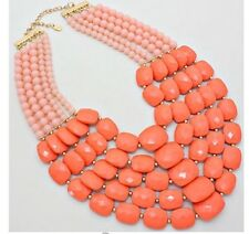 Very Chunky Big Peach Pearl Acrylic Multi Layered Bead Necklace Earring