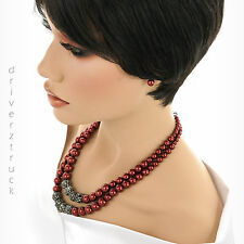 CROFT & BARROW Faux PEARLS RED NECKLACE & EARRING SET with JET BEADS Two STRANDS