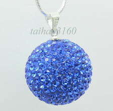 Top Huge 20 mm Disco Shamballa Crystal Ball Pendant Silver Chain Necklace 003