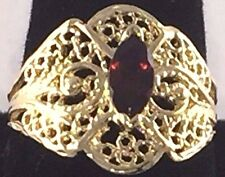 10KT Yellow Gold Ladies Ring with Marquise  shaped Garnet 3.0 Gms weight Sz 6.5