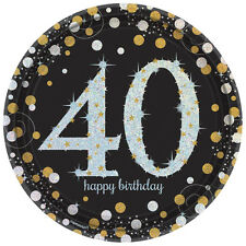 8 Gold Celebration Age 40 Paper Plates Silver Gold Black 40th Birthday tableware