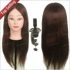 "Salon 22"" 100% Real Hair Mannequin Practice Training Head Hairdressing & Clamp"