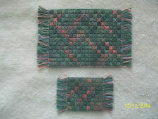 "2 Doll House Handmade Needlepoint Rug 3 1/8 "" x 5"" & 1 3/4"" x 3"" Multicolor Teal"