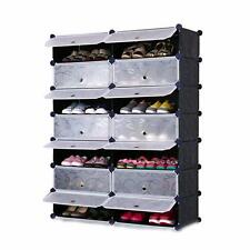DIY 2 x 8 Cube Shoe Rack Wardrobe Box Storage Closet Organizer Cabinet with Door