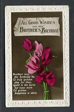 Birthday Card - Flowers - Good Wishes Brother. Stamp/Postmark, Gravesend - 1930