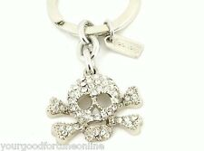 NEW Coach Skull Crossbones Skull Pave Swarovski Crystal Key Chain Ring 92413
