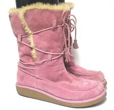 Women's Earth Pink Suade Boots Faux Fur Sz US 9
