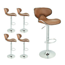 Modern Mocha Barstool 4 Swivel Elegant PU Leather Adjustable Hydraulic Bar Stool