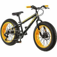 "NEW 20"" Mongoose Massif Boys 7 Speed Fat Tire Mountain Bike Bicycle Yellow/Black"