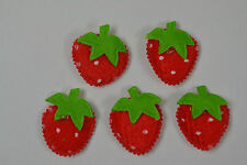 12 RED STRAWBERRY with STEM (25mm) Felt appliques miniature cards hair clips