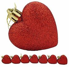 8 x 60mm Red Glitter Heart Shaped Christmas Tree Baubles (BA21)