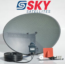 Sky Freesat Satellite Dish & Quad Lnb + Complete 10M Black Twin Installation Kit