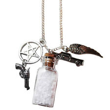 New Charm Wishing Supernatural Salt Bottle Necklace Pentagram Angel Wing Pendant