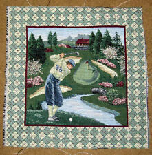 Golf Classic On The Back Nine Crafters Unfinished Tapestry Pillow Fabric Piece