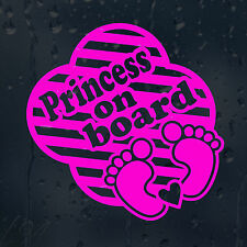 Princess On Board Car Decal Pink  Vinyl Sticker For Window Bumper Panel