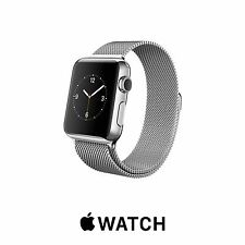 Genuine Apple Watch 38mm SILVER STAINLESS STEEL Case MILANESE Loop Band MJ322LL