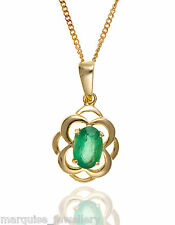 """9ct Gold Celtic Emerald Oval Drop Pendant & 9ct Gold 18"""" Curb Chain."""