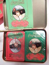 Vintage Coca Cola Playing Cards 2 Decks Sealed in Tin score pad pencil box HK