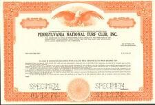 Pennsylvania National Turf Club   horse racing  track stock certificate specimen
