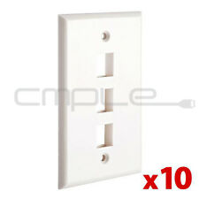 10x Wall Plate 3 Hole Port Jack Keystone Audio Wallplate White Lot Pack