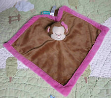 Tiddliwinks Plush Brown Monkey Baby Girl Security Blanket w Pink Plush Edge EUC